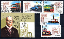 CUBA 1993, RUDOLF DIESEL, TRANSPORTS Auto Camion Train Tracteur Bateau, 5 Valeurs Et 1 Bloc,  Oblitérés / Used. R524 - Trasporti