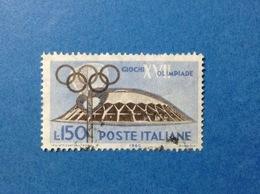 1960 ITALIA GIOCHI OLIMPICI OLIMPIADE ROMA 150 LIRE FRANCOBOLLO USATO ITALY STAMP USED - 1946-60: Usati