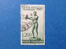 1960 ITALIA GIOCHI OLIMPICI OLIMPIADE ROMA 200 LIRE FRANCOBOLLO USATO ITALY STAMP USED - 1946-60: Usati