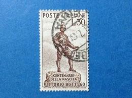 1960 ITALIA VITTORIO BOTTEGO ESPLORATORE FRANCOBOLLO USATO ITALY STAMP USED - 1946-60: Usati