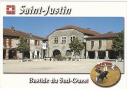SAINT-JUSTIN: Bastide Du Sud-Ouest, Place Des Tilleuls Et Ses Couverts - Altri Comuni