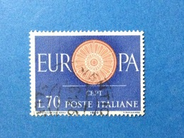 1960 ITALIA EUROPA CEPT 70 LIRE FRANCOBOLLO USATO ITALY STAMP USED - 1946-60: Usati