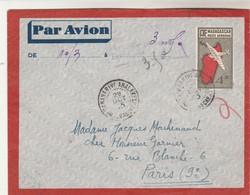 Madagascar Lettre TANANARIVE ANALAKELY 29/10/1945 Pour Paris Cachet Faible Poste Aérienne Taxe Perçue - Madagascar (1889-1960)