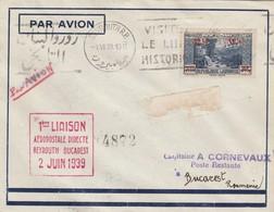 Lettre Poste Aérienne LIBAN Cachet 1 ère Liaison Aéropostale Directe BEYROUTH BUCAREST ( Roumanie ) 2/6/1939 - Grand Liban (1924-1945)