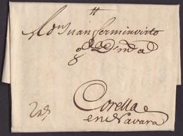 1746. AMSTERDAM A CORELLA. ANOTACIÓN DE PORTE 2 REALES. RARÍSIMA CARTA CON ESTA CIRCULACIÓN. - ...-1852 Vorläufer