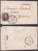 Belgique - LAC COB10 Au Filet Expédiée Du Bureau De Distribution D33 De Marbais 28/04/1861 Vers Gosselies (RD361)DC5874 - 1858-1862 Medaillen (9/12)