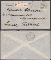 Belgique - Lettre COB 78 En Recom. D'Anvers (Gare Centrale) 12/02/1909 Vers Zurich (RD384) DC5897 - 1905 Breiter Bart