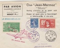 Poste Aérienne Lettre Club Jean Mermoz 1er Vol Postal La Baule - Belle Ile En Mer 24/7/1938 - Vignette Erinnophilie - Luftpost