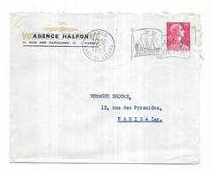 France 1955 Flamme Foire De Paris Au Mois De Mai AGENCE HALFON Rue Des Capucines - Marcophilie (Lettres)
