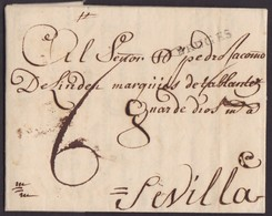 1744. BRUJAS A SEVILLA. MARCA DE ORIGEN BRUGES. TASADA CON 6 REALES. PORTEADA COMO CARTA A MADRID EN VEZ DE A SEVILLA. - 1598-1621 (Unabh. Niederlande)