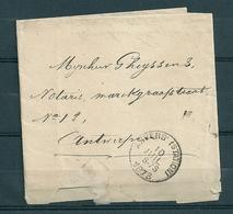 Brief Ministerie Van Financiën (Administratie Registratie Domeinen) Gestempeld ANVERS STATION - 10 Juil 1873 - Belgique