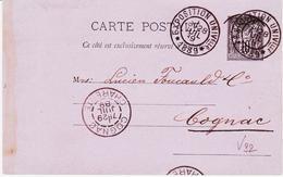 France, Paris  Exposition Universelle De 1889 Sur Entier Sage    TB - Poststempel (Briefe)