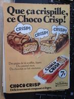 SPI2020  Issu De Revue SPirou Années 70/80 / 1 PAGE DE PUBLICITE CONFISERIE RIZ + CHOCOLAT CHOCO CRISP - Publicités