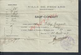 MILITARIA SAUF CONDUIT MILITAIRE VILLE DE FROUARD DE Meme DELPEY MARGUERITTE 1915 : - 1914-18