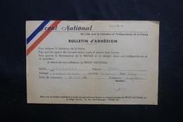 VIEUX PAPIERS - Bulletin D'Adhésion Au Front National En 1945 -  L 51886 - Vecchi Documenti