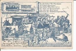 Carte Humoristique GRUSS Aus HALLE Ou HATTE Illustrateur Leisten Schneider - Illustrateurs & Photographes