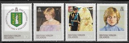 Virgin Islands 1982   Sc#430-3  Diana 21st Birthday Set  MNH  2016 Scott Value $3.55 - Iles Vièrges Britanniques