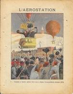 Protège Cahier Fin XIXe: Collection L. Geisler - L'Aérostation N° 7 Gambetta Et Spuller Quittent Paris En Ballon - Protège-cahiers