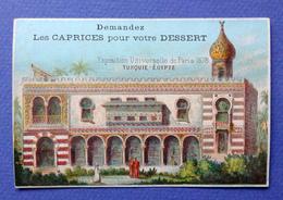 CHROMO ..LITH.LAAS...EXPOSITION UNIVERSELLE 1878...DESSERT CAPRICES MASSONNEAU......PAVILLONS DE TURQUIE ET EGYPTE - Trade Cards