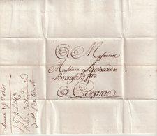 "FRANCE : MARQUE POSTALE . A SEC . "" CHARENTE SAINTONGE 16  "" . POUR COGNAC . TB . 1761 . - 1701-1800: Precursori XVIII"