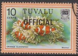 Tuvalu SG O7 1981 OFFICIAL,10c Orange Clown Fish Overprinted Official, Used - Tuvalu