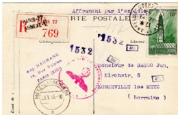 CP Recommandée Censurée Par Les Allemands - N° 567 ARRAS - PARIS Pour LONGEVILLE-LES-METZ (LORRAINE)  - 12 Janvier 1943 - Guerras