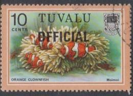 Tuvalu SG O7 1981 OFFICIAL,10c Orange Clownfish Overprinted Official, Used - Tuvalu