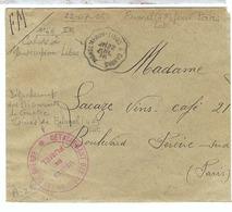FRANCE: Lettre En FM Cachet Du Détachement Des Prisonniers De Guerre De Fumel Pour Paris Du 22 Juillet 1916 - France