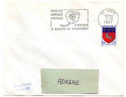 CORSE - Dépt N° 20 = CALVI 1967 = FLAMME Codée =  SECAP Multiple ' PENSEZ + CODIFIEZ' = Pensée N° 2 - Code Postal