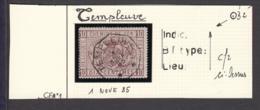"""Belgique - Timbre COB CF1 Oblitération Centrale """" TEMPLEUVE 1 Nov 1885"""" (RD404)DC5917 - Bahnwesen"""