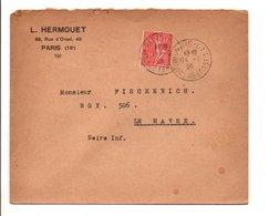 SEMEUSE SUR LETTRE DE PARIS 67 1928  JOLI DOS - Marcophilie (Lettres)