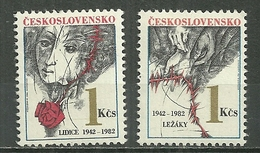 TCHECOSLAVAQUIE MNH ** 2487-2488 Anniversaire De La Destructin Des Villes De Lidice Et Lezaky Visage D'enfant Rose Mains - Unused Stamps