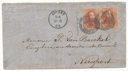 1862 BRIEF MET OCB PAAR 12? VAN ANVERS NAAR NIEUPORT - AANKOMSTSTEMPEL NIEUPORT ZIE SCAN(S) VL - 1851-1857 Médaillons (6/8)