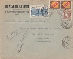 Env Reco Affr Y&T 681 + 757 X 2 + 760 Obl STRASBOURG KOENIGSHOFFEN Du 3.6.47 Adressée à Strasbourg - Postmark Collection (Covers)
