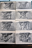 8 Cartes Sculptures Stalles Fin XVe Siecle Eglise De La Trinité - Vendome