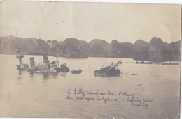 """TONKIN VIETNAM INDOCHINE  : Carte Photo De L'échouage Du """" Sully """" Dans La Baie D'Along - Vietnam"""