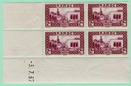 N°YT 129 Bloc De 4** Avec Coin Daté - Maroc (1891-1956)