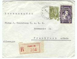 FRANCE 1937: Lettre Rec. De Paris Pour Frankfurt A/ Main (Allemagne) Avec Les Y&T 284A Et 338 Oblitérés Du 6-10-37 - France