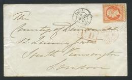 1853-60 Napoléon III Non Dentelé 40c Orange No16. De Paris à Londres. Percé En Ligne, Roulette De Petits Points. - Marcophilie (Lettres)