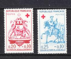 Francia  - 1957.  Red Cross. Sculture Lignee. San Martino.Wooden Sculptures. Saint Martin. Complete MNH Fresh Series. - Scultura