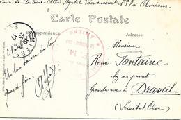 80-cachet Hôpital Louvencourt (H C N°78) à Amiens Sur CP En 1917 - Guerre De 1914-18