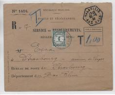 ALSACE - 1934 - CACHET HEXAGONAL De THANVILLE Sur ENVELOPPE RECOUVREMENT RECOMMANDEE COMPLETE Avec TAXE => STRASBOURG - 1921-1960: Periodo Moderno