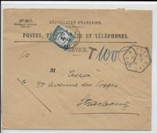 ALSACE - 1934 - CACHET HEXAGONAL De HATTEN Sur ENVELOPPE RECOUVREMENT RECOMMANDEE COMPLETE Avec TAXE => STRASBOURG - 1921-1960: Periodo Moderno