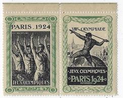 Timbre Vignette Paris 1924- VIIIe Olympiade-Jeux Olympiques-bloc De 2 Vignettes - Other