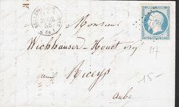 FRANCE Lettre Napoleon 20 Non Dentelé De BELLEVILLE Du 10 Avril 1855 Via LES RICEYS (Aube) - 1849-1876: Periodo Clásico