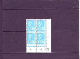 N° 1663 - 0,45 BEQUET - H De H+I - 1° Tirage Du 13.3.72 Au 7.4.72 - 4.04.1972 - - Dated Corners