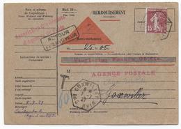 ALSACE - 1927 - CACHET HEXAGONAL De DUTTLENHEIM + GOXWILLER Sur CP REMB. TAXEE ASS.GERANT AGENCE POSTALE - RETOUR - 1921-1960: Periodo Moderno