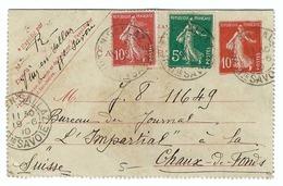 FRANCE 1910: Carte-lettre Entier Postal De 10c., De Viuz-en-Sallaz (Hte Savoie) Pour La Suisse Avec Les Y&T 137 Et 138 - Francia
