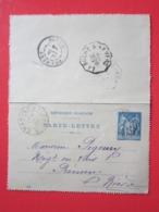 CARTE - LETTRE, Entier Postal Type SAGE 15 écrite à CHAMPLEMY (58) Le 6/12/1899 Oblitérée CHAMPLEMY LA ROCHE A NEVERS 58 - Kartenbriefe