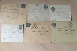 Lot 18 Lettres Poste Origine Rurale Marque Facteur Côte D'Or Timbres Type Sage Et Semeuse Marcophilie - Poststempel (Briefe)